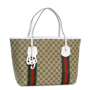 GUCCI(グッチ) トートバッグ 211970 TOTE DOUBLE SHOULDER LARGE ベージュ/ホワイト - 拡大画像
