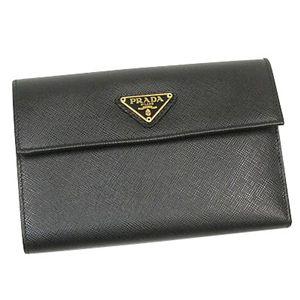 PRADA(プラダ) 二つ折り財布(小銭入れ付) SAFFIANO ORO 1M0510 ブラック - 拡大画像