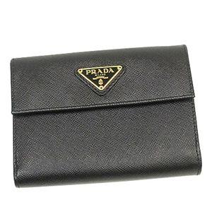 PRADA(プラダ) Wホック財布 SAFFIANO ORO 1M0523 ブラック - 拡大画像