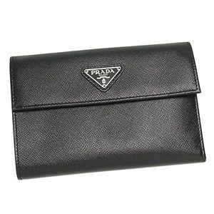 PRADA(プラダ) 三つ折り財布(小銭入れ付) SAFFIANO ORO 1M0510 ブラック - 拡大画像