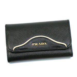 Prada(プラダ) キーケース SAFFIANO BICOLORE 1M0222 F0T7M ブラック/ベージュ - 拡大画像