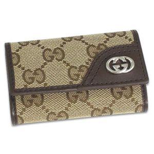 Gucci(グッチ) キーケース MEN NEW BRITT 181680 BASIC KEY-CASE 9569 ベージュ/ダークブラウン - 拡大画像