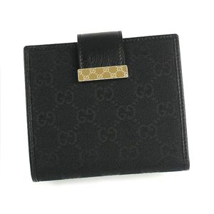 Gucci(グッチ) Wホック財布 ICON BAR 212090 WALLET FLAP FRENCH 1000 ブラック - 拡大画像