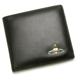 Vivienne Westwood(ヴィヴィアンウエストウッド) 二つ折り財布(小銭入れ付) NAPPA 730 ブラック/ゴールド - 拡大画像