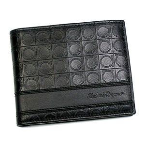 Ferragamo(フェラガモ) 二つ折り財布(小銭入れ付) GAMMA 668734 433496 ブラック - 拡大画像