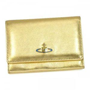 Vivienne Westwood(ヴィヴィアンウエストウッド) 二つ折り財布(小銭入れ付) NAPPA 746V  ゴールド H9.5×W13.5×D2.5 - 拡大画像