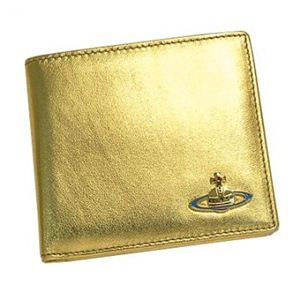 Vivienne Westwood(ヴィヴィアンウエストウッド) 二つ折り財布(小銭入れ付) NAPPA CALF 730V ゴールド H10.5×W11×D2.5 - 拡大画像