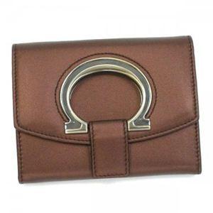 Ferragamo(フェラガモ) 二つ折り財布(小銭入れ付) GANCIO STYLISH 22B018 442115 ブラウン H10xW13xD2.5 - 拡大画像