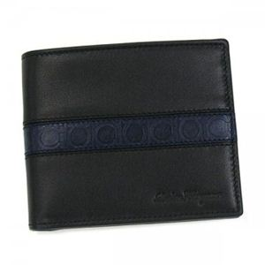 Ferragamo(フェラガモ) 二つ折り財布(小銭入れ付) MENS SLG FORM 668928 462845 ブラック/ブルー - 拡大画像
