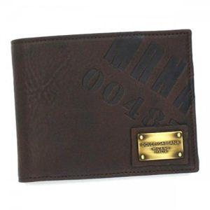 DOLCE&GABBANA(ドルチェアンドガッバーナ) 二つ折り財布(小銭入れ付) A4030キャンバス+レザー BP0457 80048 ダークブラウン - 拡大画像