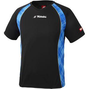 ニッタク(Nittaku) 男女兼用卓球ユニフォーム ユニ Vチェックスシャツ NW2171 ブラック×ブルー S