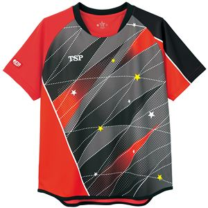 TSP(ティーエスピー) 卓球アパレル ゲームシャツ レディスフリッシュシャツ レッド S - 拡大画像