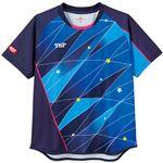 TSP(ティーエスピー) 卓球アパレル ゲームシャツ レディスフリッシュシャツ ネイビー 2XL
