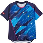 TSP(ティーエスピー) 卓球アパレル ゲームシャツ レディスフリッシュシャツ ネイビー 2XS