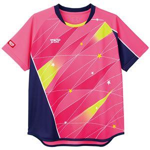 TSP(ティーエスピー) 卓球アパレル ゲームシャツ レディスフリッシュシャツ ピンク M - 拡大画像