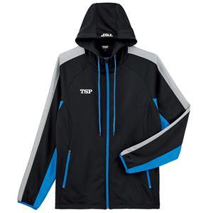 TSP(ティーエスピー) 卓球ウェア ウォームアップ TJ-191ジャケット ブラック×ブルー 2XL - 拡大画像