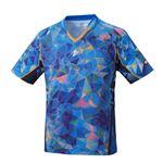 Nittaku(ニッタク) 卓球ゲームシャツ MOVESTAINED SHIRT ムーブステンドシャツ 男女兼用ブルーXO
