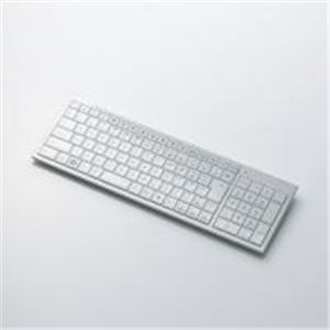 ELECOM(エレコム) クリスタルのような透明感のワイヤレスフルキーボード TK-FDP012WH - 拡大画像