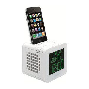 princeton FMラジオ搭載目覚まし機能つきスピーカーi-BLOQ(ホワイト) PSP-BQW - 拡大画像