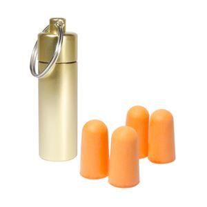 (まとめ)ミヨシ 旅行用耳栓 アルミケース付き ゴールド MBZ-ALM/GD【×10セット】 - 拡大画像