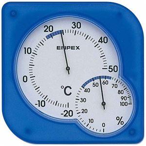 EMPEX 温度・湿度計 シュクレmidi 置き掛け兼用 TM-5606 クリアブルー - 拡大画像