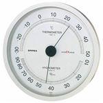 (まとめ)EMPEX 温度・湿度計 スーパーEX高品質 温度・湿度計 壁掛用 EX-2747 シャインシルバー【×2セット】
