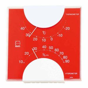 EMPEX 温度・湿度計 エルムカラー スクエア型 置き掛け兼用 LV-4955 レッド - 拡大画像