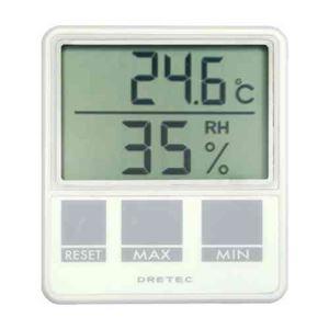 (まとめ)DRETEC 空調のチェックに便利な温湿度計 デジタル温湿度計 O-214WT【×3セット】 - 拡大画像