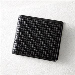 牛革ブロックメッシュ型押し錦蛇札入れ(ブラック) K91009645 - 拡大画像