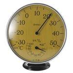 (まとめ)アナログ温湿度計 ナチュラルウッド【×2セット】