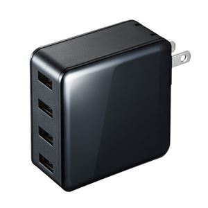 サンワサプライ USB充電器(4ポート・合計6A・ブラック) ACA-IP54BK