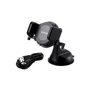 エレコム Qi規格対応ワイヤレス充電器/9W/5W/車載ホルダー付/ブラック W-QC01BK