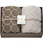 ハイソフトタッチマイヤー毛布&吸湿発熱綿入り敷パット グレージュ L3196539