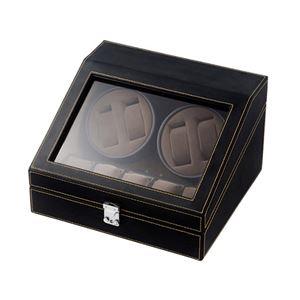 エスピーアイ 合皮4連ワインディングマシーン ブラック/ブラウン SP43014LBK - 拡大画像