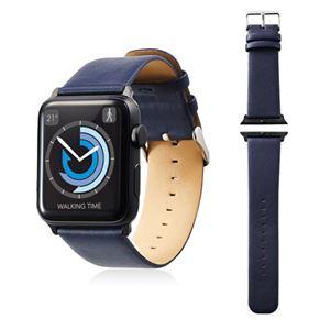 エレコム Apple Watch 42mm/ソフトレザーバンド/フラットスクエアタイプ/ネイビー AW-42BDLFSBU - 拡大画像
