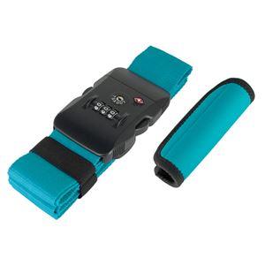 (まとめ)ミヨシ TSA対応スーツケースベルトグリップセット ブルーグリーン MBZ-MZ03/BG【×2セット】 - 拡大画像