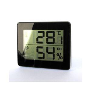 (まとめ)YAZAWA デジタル温湿度計 ブラック DO01BK【×5セット】 - 拡大画像