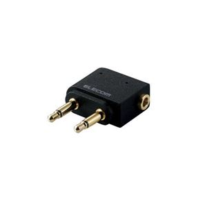 (まとめ)エレコム φ3.5mmデュアルジャック変換アダプタ ブラック MPA-T35DSADBK【×5セット】