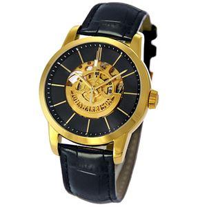 J.HARRISON フロントローター 自動巻き スケルトン時計 ゴールド JH-1946GB - 拡大画像