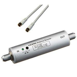 HORIC アンテナブースター 室内・地デジ(UHF/VHF)専用 中継タイプ + アンテナケーブル 1m ホワイト 両側F型ネジ式コネクタ ストレート/ストレートタイプセット HAT-ABS024+HAT10-914SS - 拡大画像