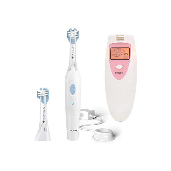 COOLSSHA 3方向同時 電動歯ブラシ IPX7完全防水 ホワイト+ポータブルニオイチェッカー2 CS-0001WH+PRTDOR8V
