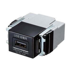 サンワサプライ 埋込USB給電用コンセント(1ポート用) ブラック TAP-KJUSB1BK - 拡大画像