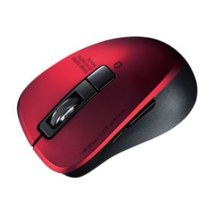 サンワサプライ 静音Bluetooth 5.0 ブルーLEDマウス(5ボタン・レッド) MA-BTBL155R - 拡大画像