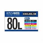 【2個セット】 ナカバヤシ エプソン用互換インク(6色パック)IC6CL80L互換 PPCPP-EIC80L-6PX2