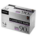 【4個セット】 HIDISC カセットテープ ノーマルポジション 90分 4巻 HDAT90N4PX4