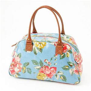 Cath Kidston バッグ  Bowling Bag With Leather  230308 Box Floral Blue - 拡大画像