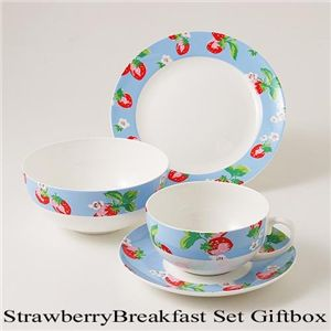 【在庫処分特価】Cath Kidston 3Pcs Strawberry Breakfast Set GiftBox - 拡大画像