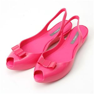 melissa(メリッサ) リボン オープントゥ ラバーサンダル Pink 35/36(約:22.0〜22.5cm) - 拡大画像
