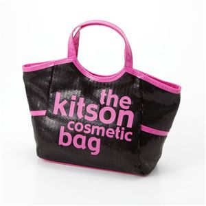 kitson(キットソン) スパンコールコスメティックバッグ(SEQUIN COSMETIC TOTE) KSG0145 Black×Hot Pink - 拡大画像