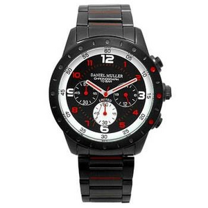 DANIEL MULLER (ダニエルミューラー) 腕時計 100M防水 クロノグラフ メンズウォッチ  DM-2016RD ブラック/レッド - 拡大画像